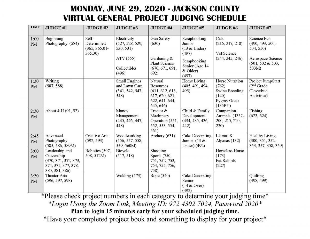 Judging schedule