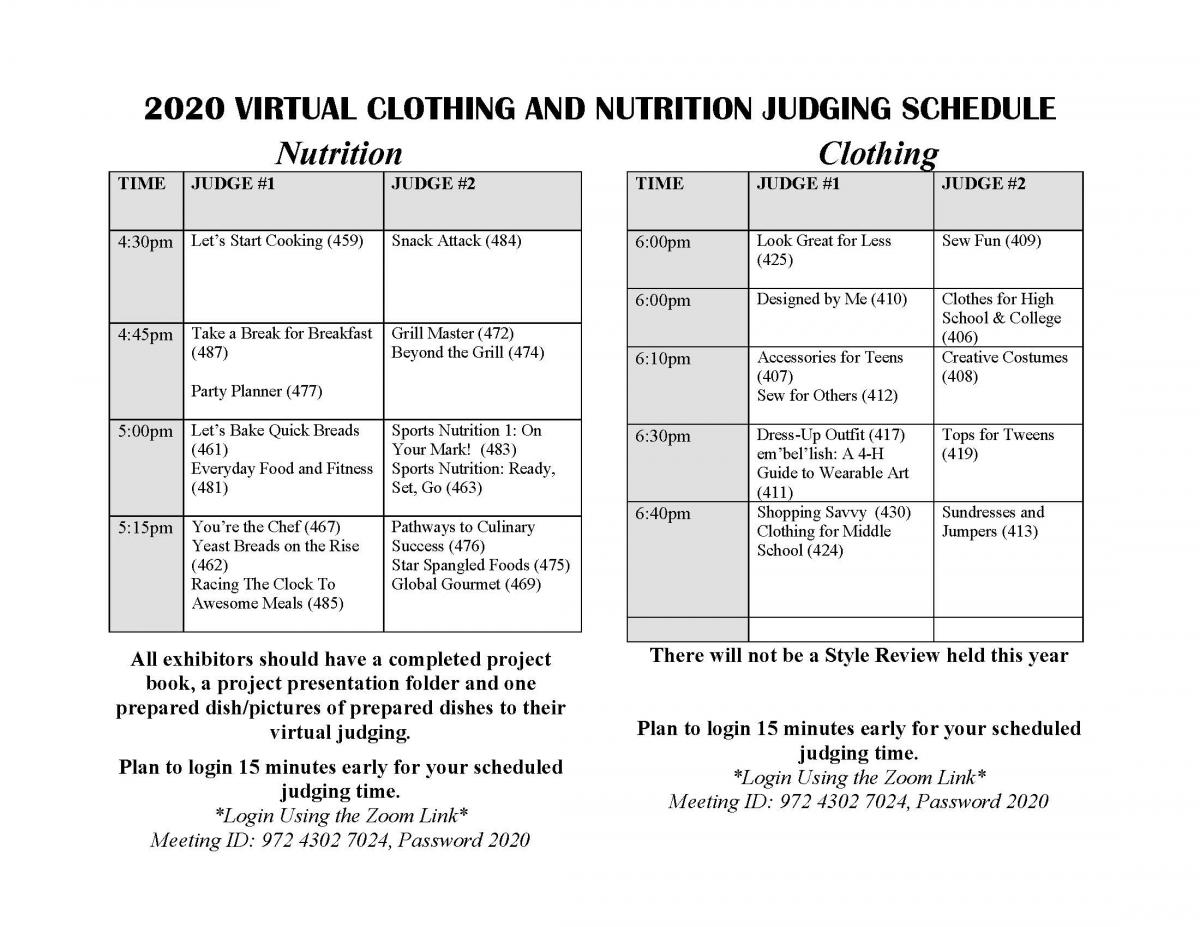 Food and Nutrition Judging Schedule