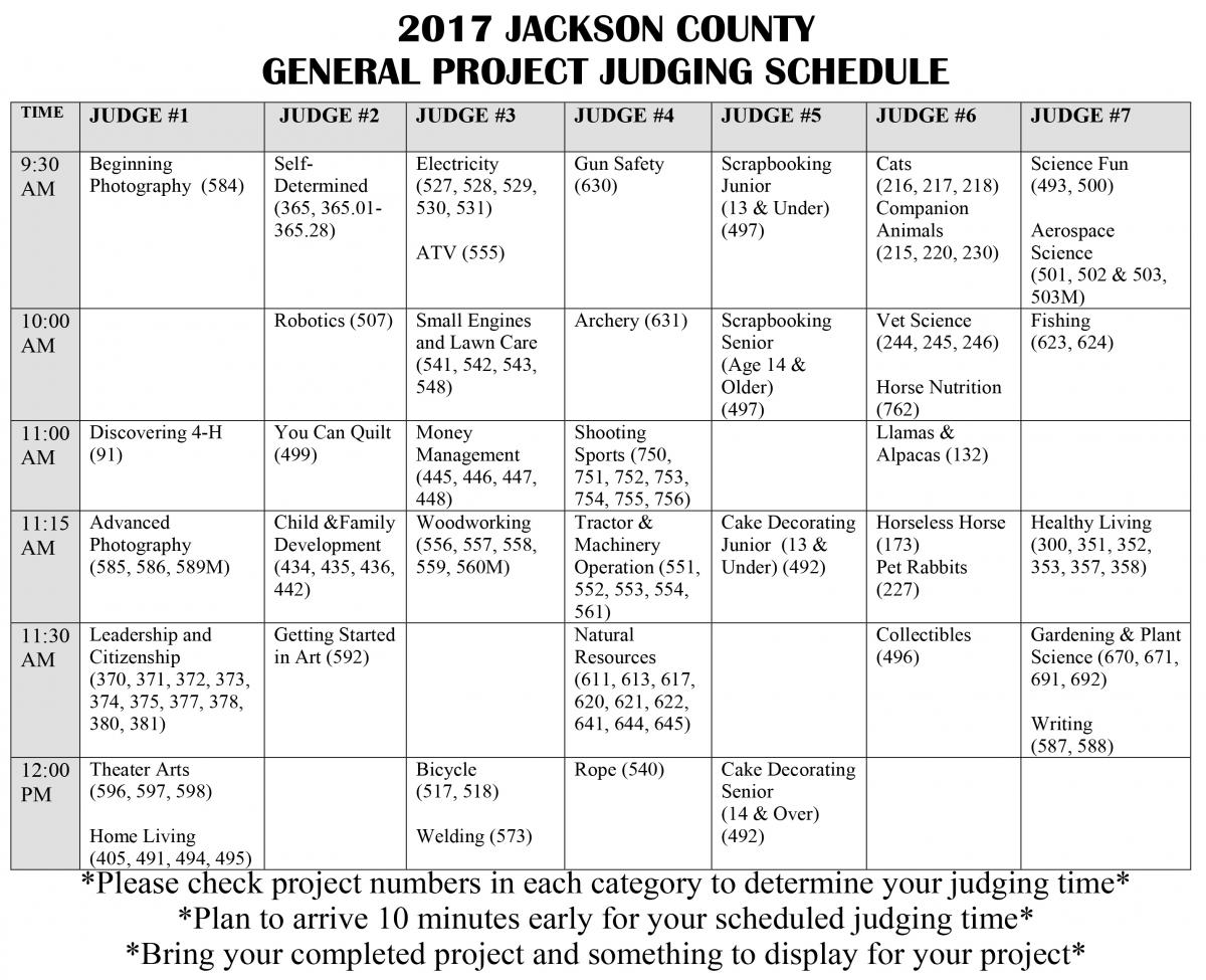 General Project Judging Schedule